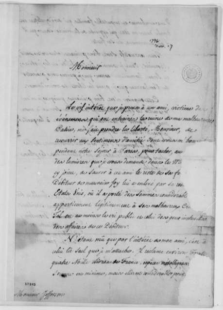 Jean Armand Tronchin to Thomas Jefferson, November 17, 1796