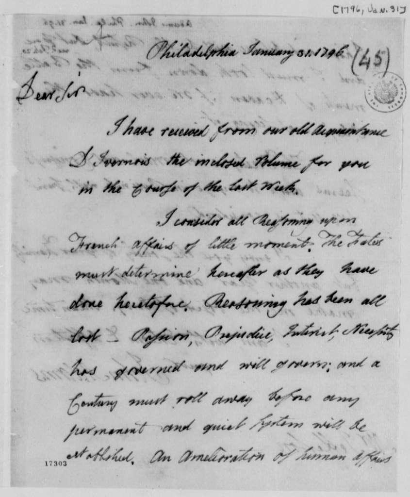 John Adams to Thomas Jefferson, January 31, 1796