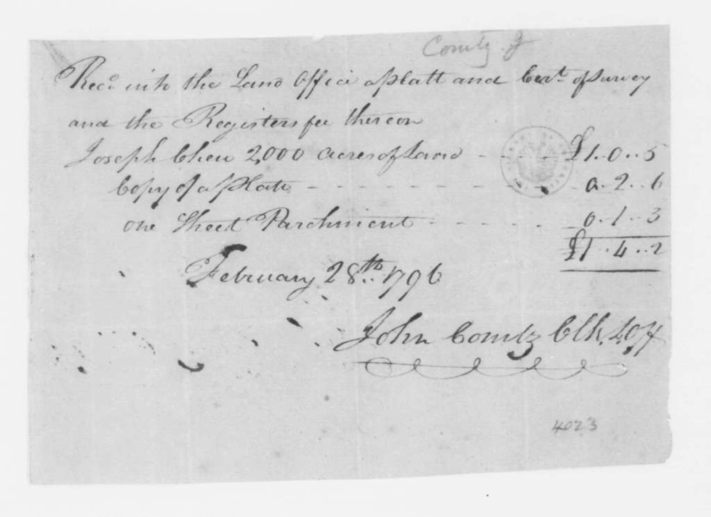 John Combs to Joseph Chew, February 28, 1796. Receipt-Land Registered enclosed in J. Madison's May 1, 1796 to J. Madison Sr.