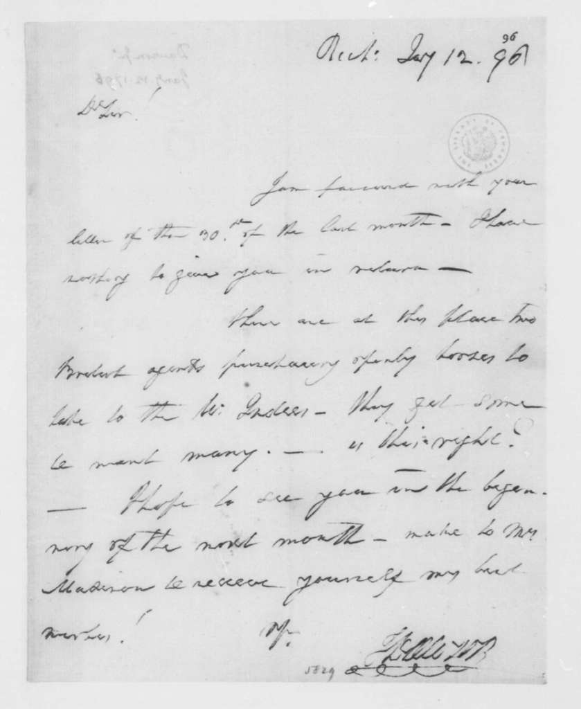 John Dawson to James Madison, January 12, 1796.