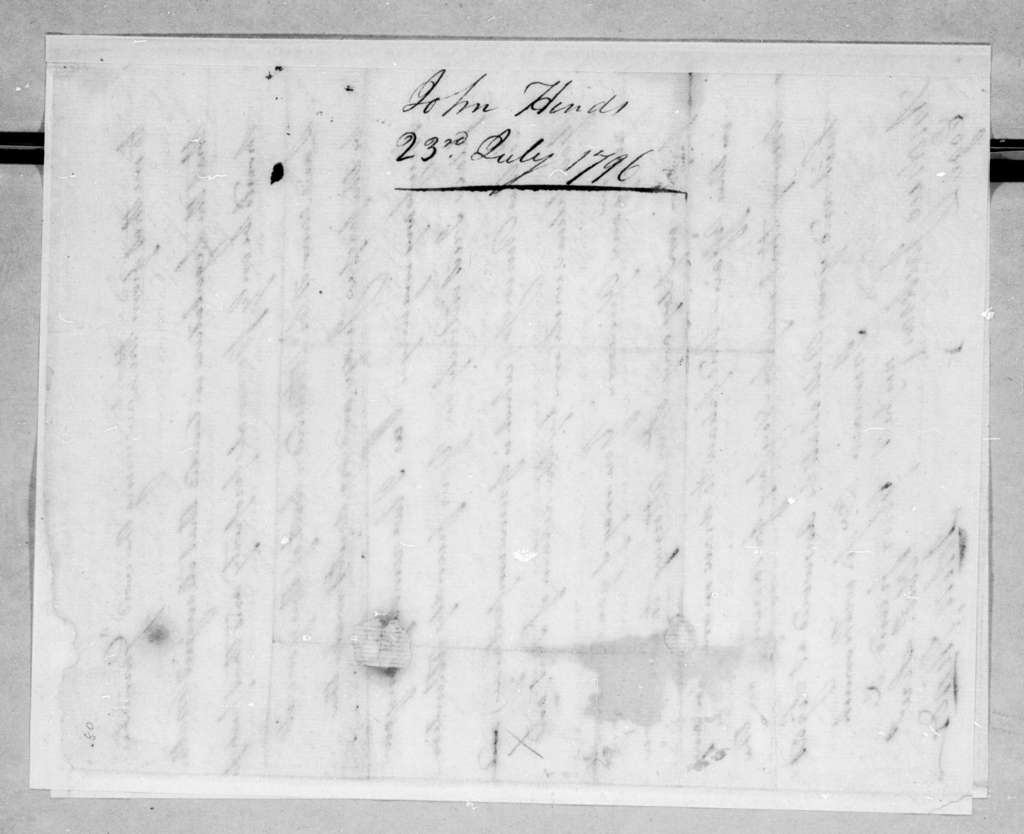 John Hinds to Andrew Jackson, July 23, 1796