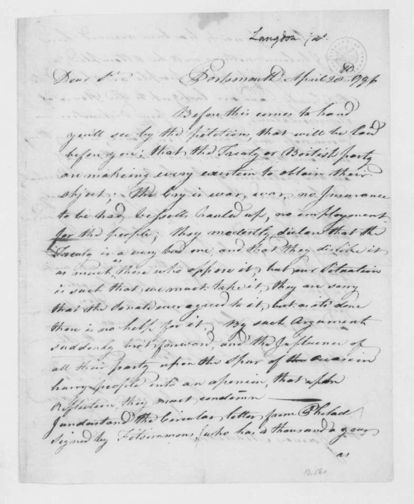 John Langdon to James Madison, April 28, 1796.