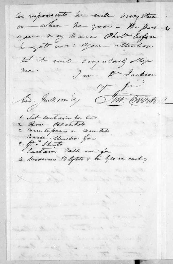 John Overton to Andrew Jackson, December 20, 1796