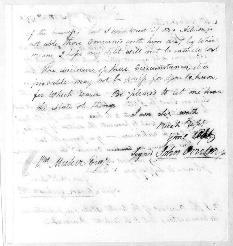 John Overton to William Meeker, July 16, 1796
