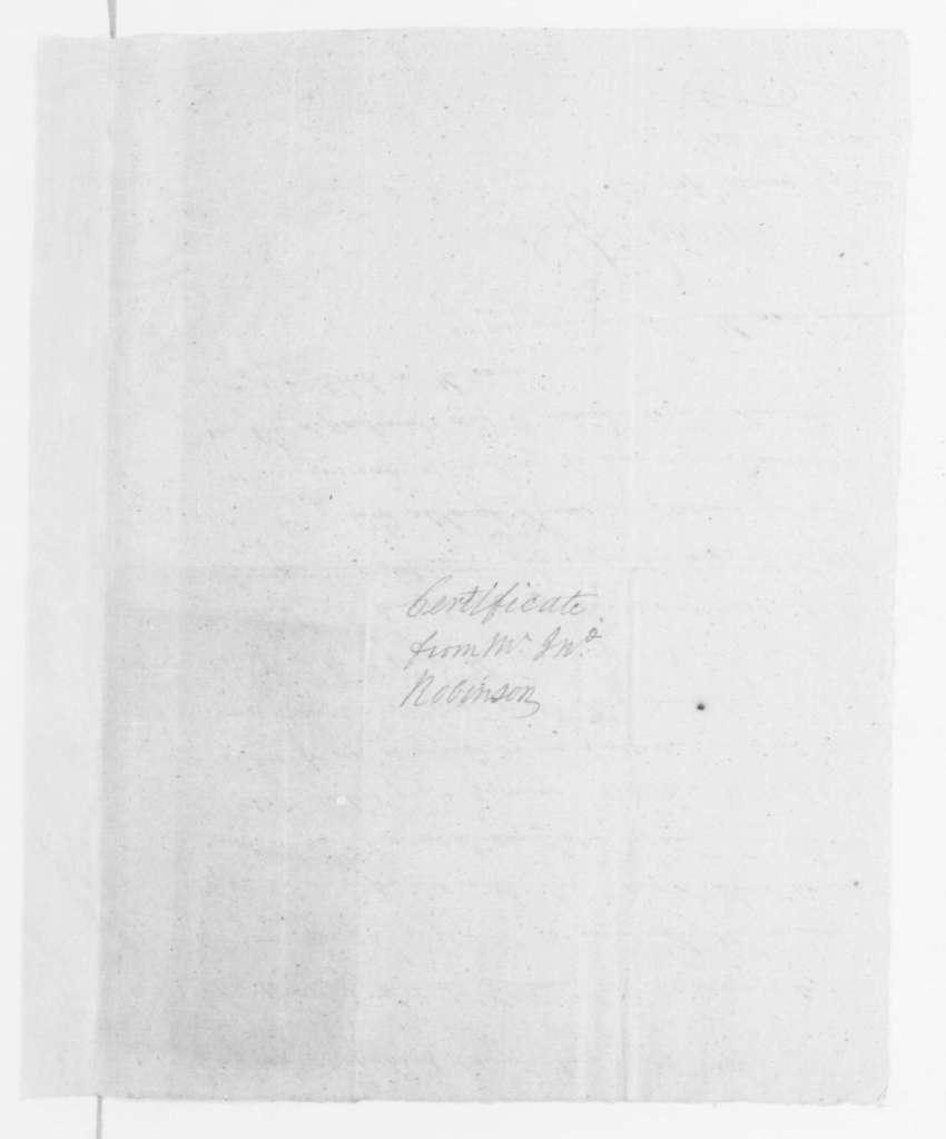 John Robertson, February 16, 1796. Certificate, Employment of William Russell by J. Robertson.