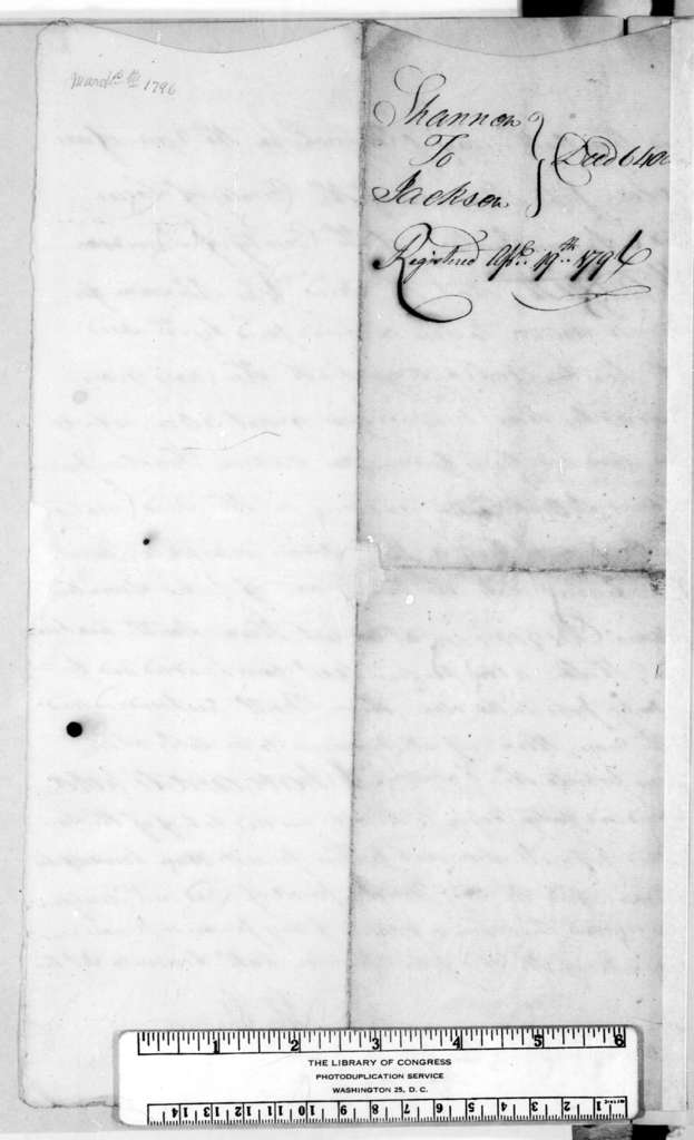 John Shannon to Andrew Jackson, March 10, 1796
