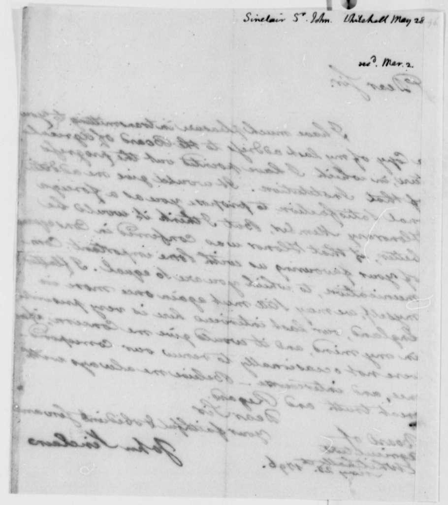 John Sinclair to Thomas Jefferson, May 28, 1796