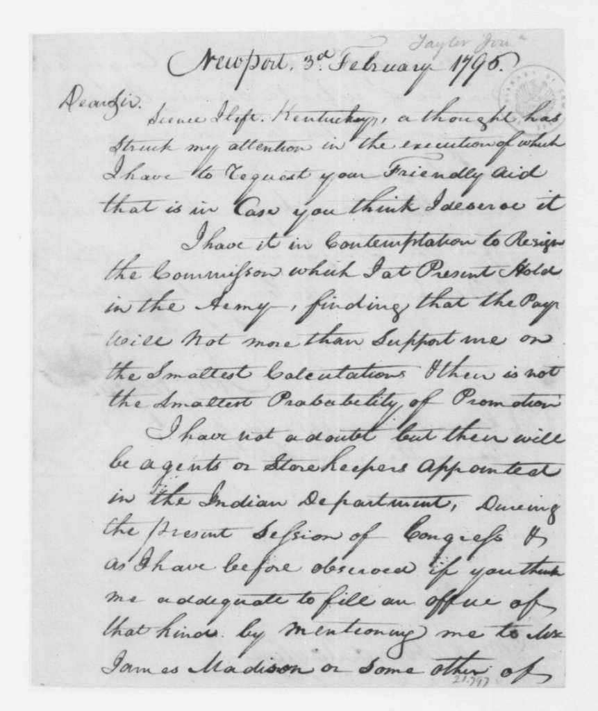 Jonathan Taylor Jr. to Hubbard Taylor, February 3, 1796. enclosed in H. Taylor's March 1, 1796 letter to J. Madison.
