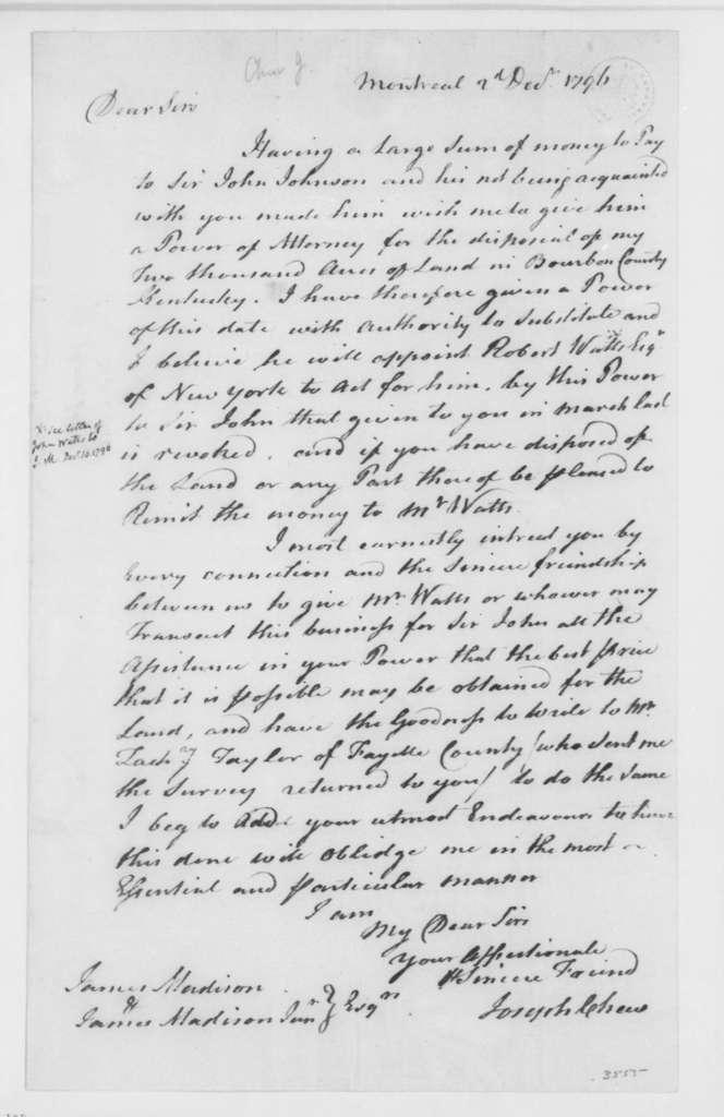 Joseph Chew to James Madison Sr., December 2, 1796.