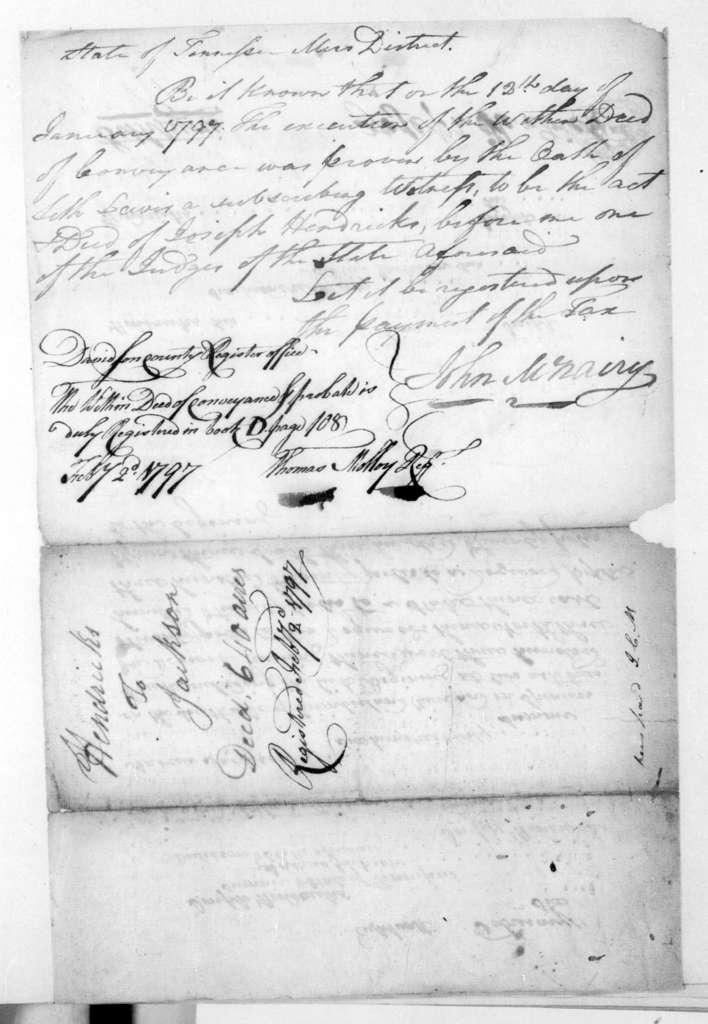 Joseph Hendricks to Andrew Jackson, February 18, 1796