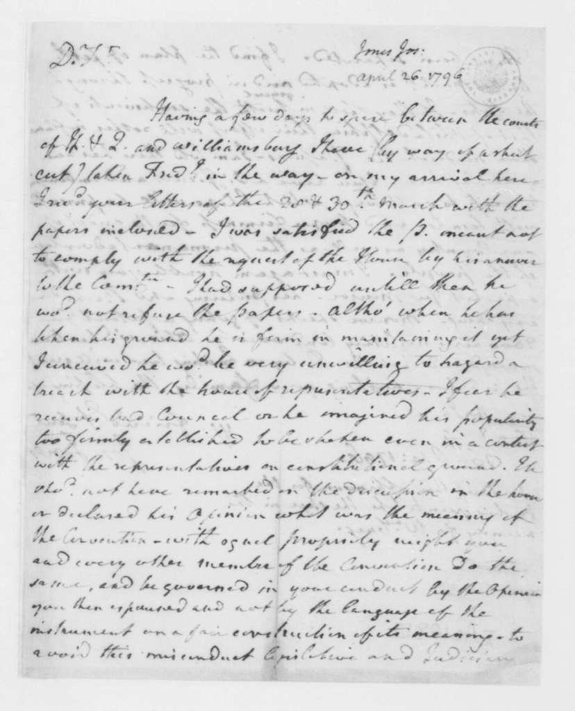 Joseph Jones to James Madison, April 26, 1796.