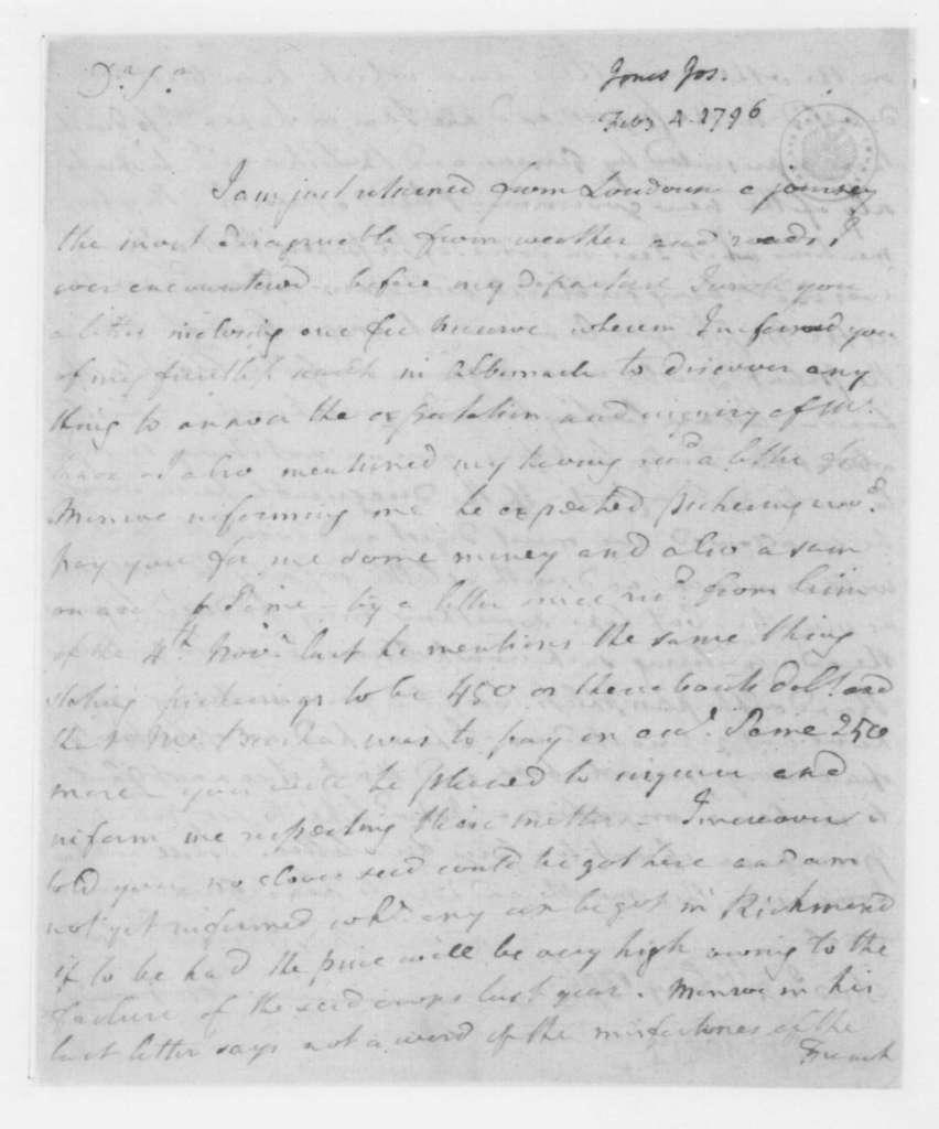 Joseph Jones to James Madison, February 4, 1796.