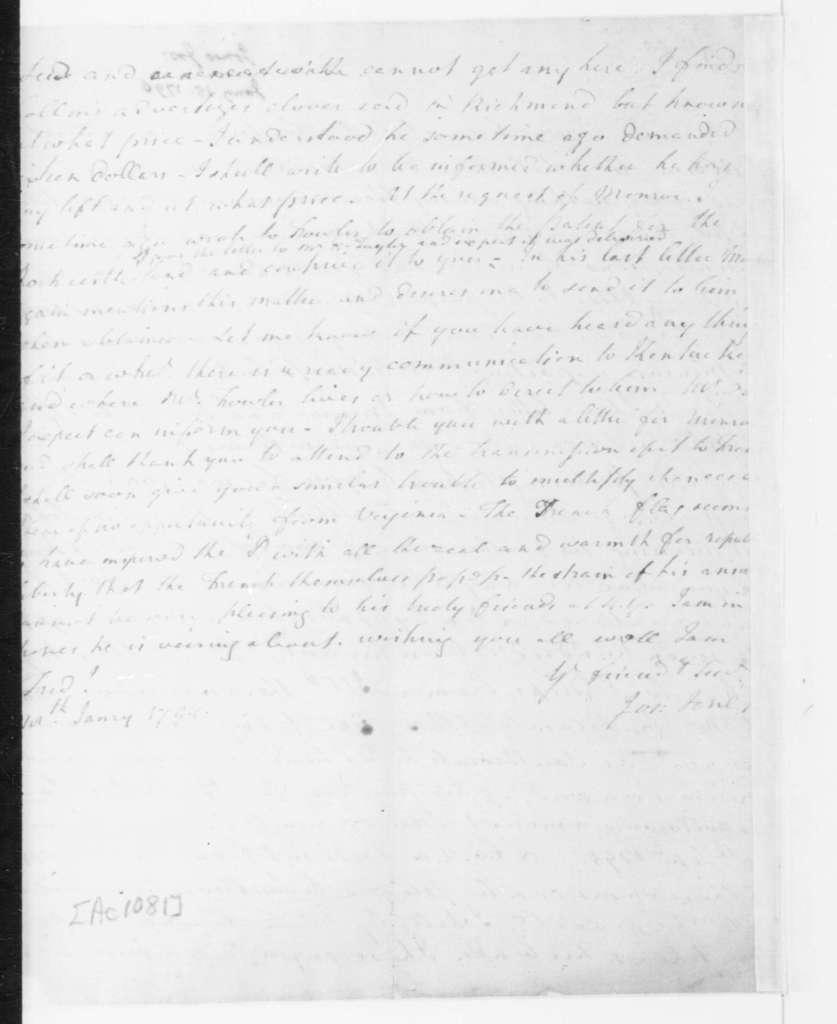Joseph Jones to James Madison, January 18, 1796.
