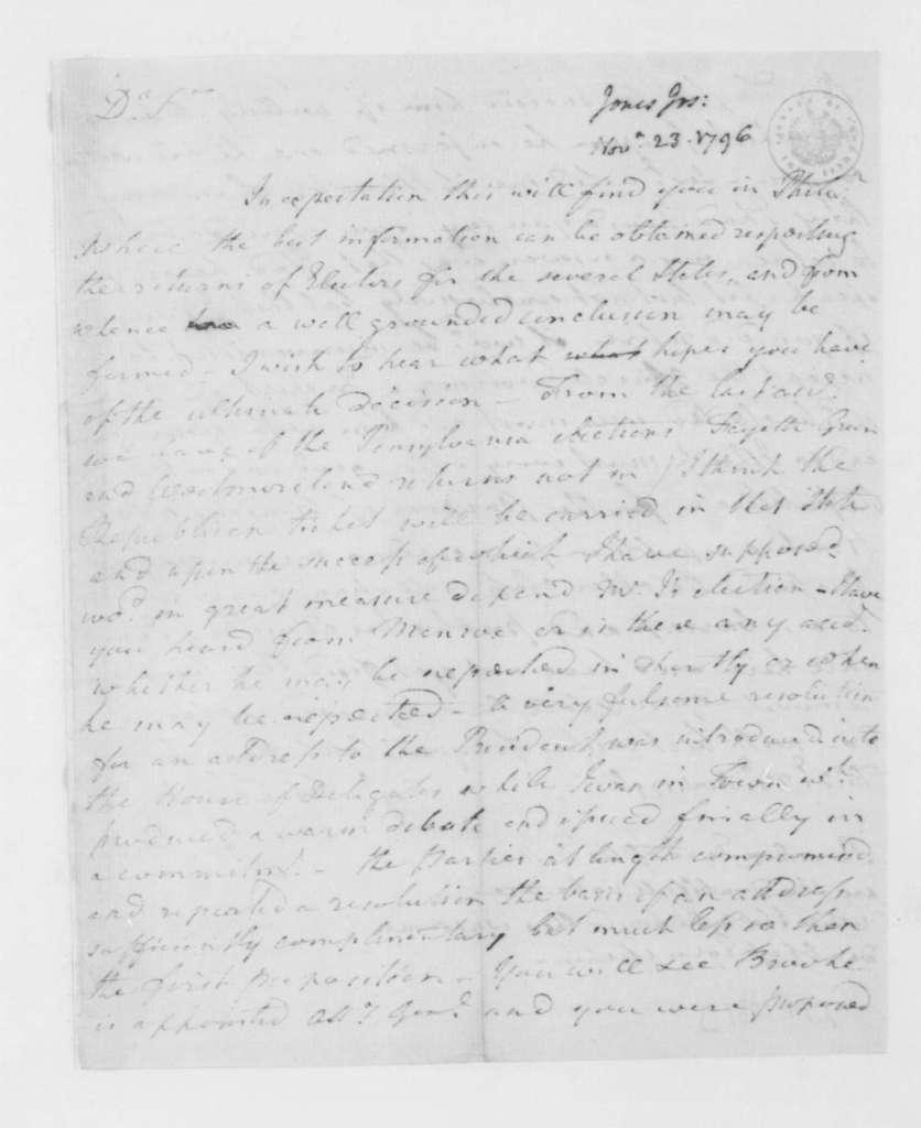 Joseph Jones to James Madison, November 23, 1796.