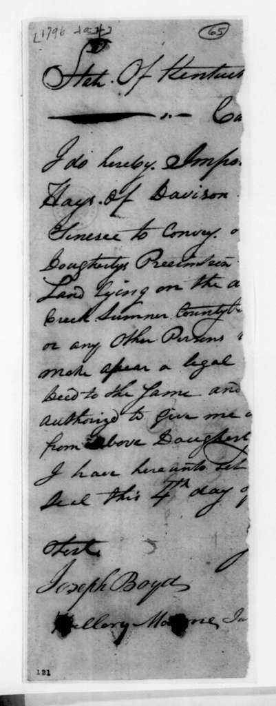 Kentucky to Robert Hays, January 4, 1796