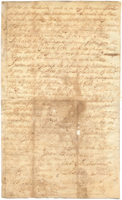Letter from Isaac Shelby to Robert Brooke