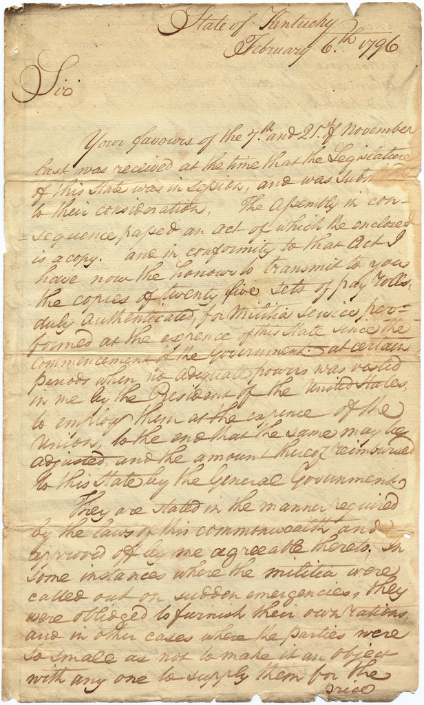 Letter from Isaac Shelby to Timothy Pickering