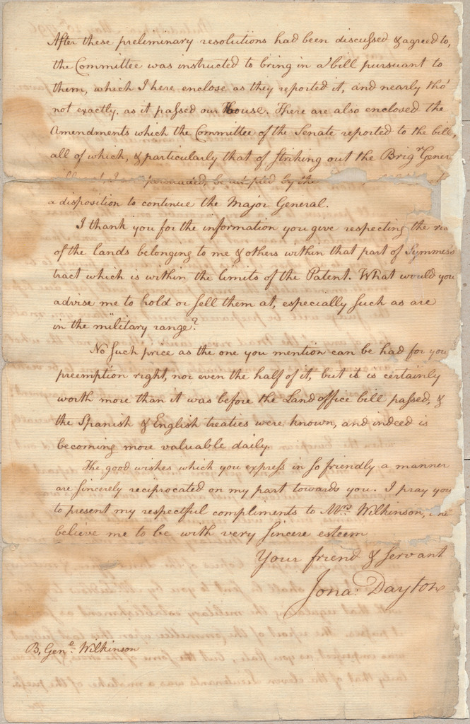 Letter from Jonathan Dayton to James Wilkinson