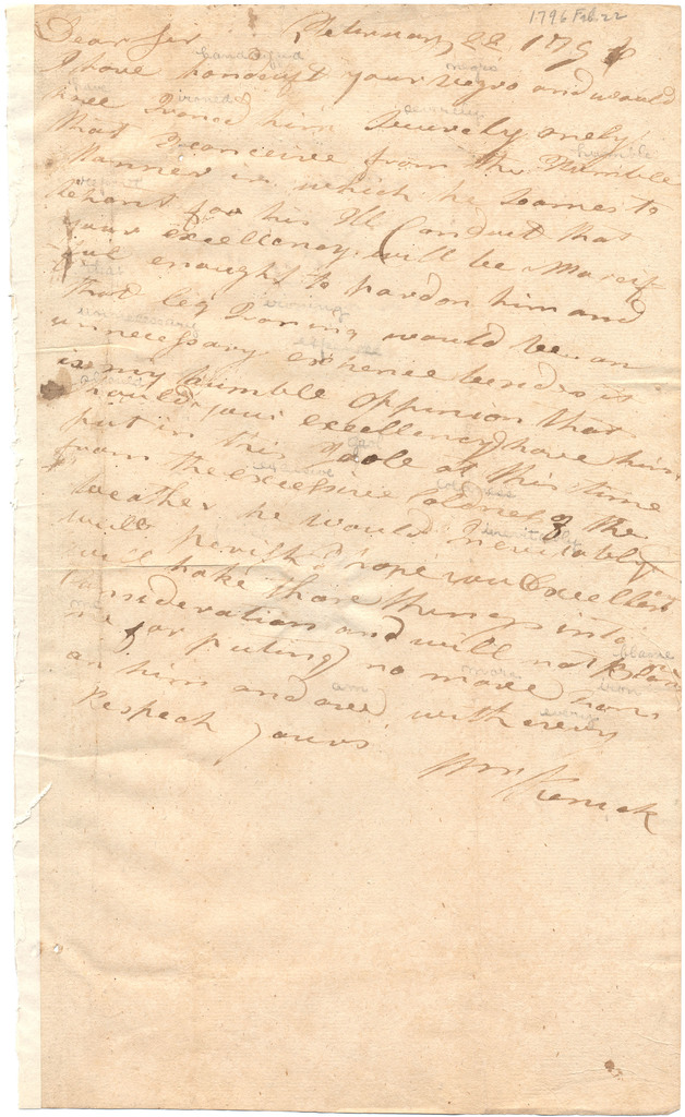 Letter from William Penick to Isaac Shelby