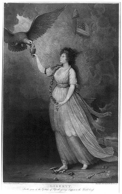 Liberty. In the form of the goddess of youth; giving support to the bald eagle / painted & engrav'd by E. Savage.