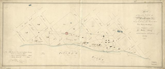 Map of part of the city of Washington shewing the situation of the mansion house, grave yard & buildings belonging to Mr. Notley Young : original proprietor of that part of the city.