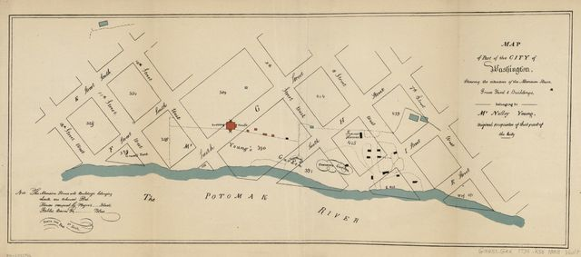 Map of part of the city of Washington, shewing the situation of the mansion house, grave yard & buildings, belonging to Mr. Notley Young : original proprietor of that part of the city.