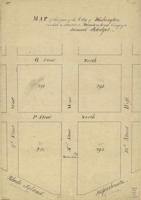 Map of that part of the city of Washington on which is situated a mansion-house belonging to Samuel Blodget.