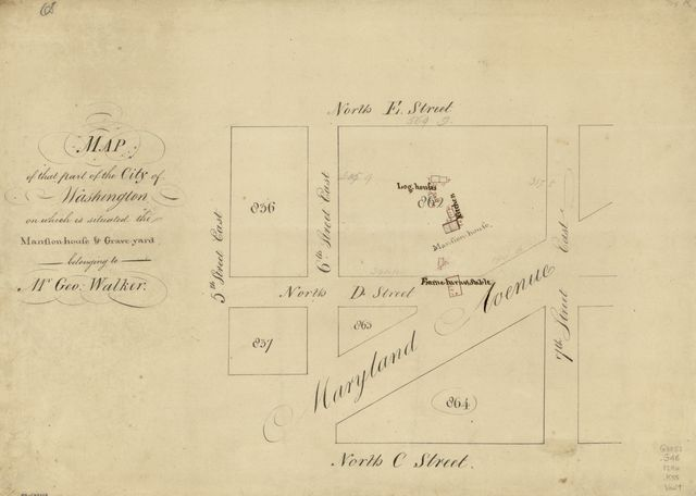 Map of that part of the city of Washington on which is situated the mansion-house & grave-yard belonging to Mr. Geo. Walker.