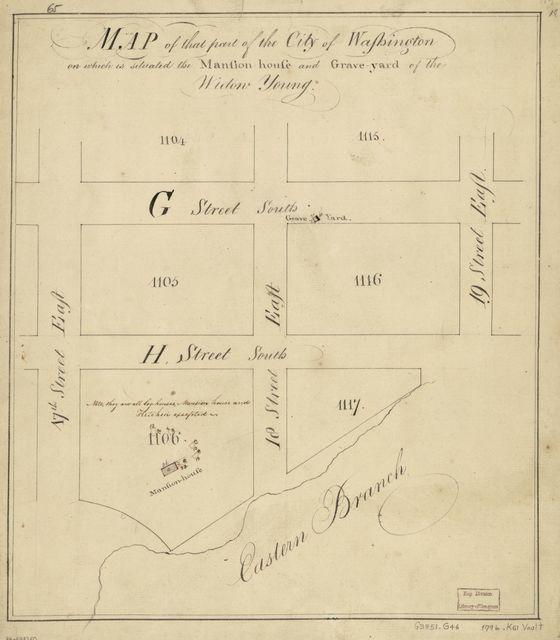 Map of that part of the city of Washington on which is situated the mansion-house and grave-yard of the Widow Young.