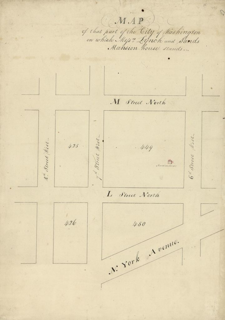 Map of that part of the city of Washington on which Mess'rs Lynch and Sands mansion-house stands.