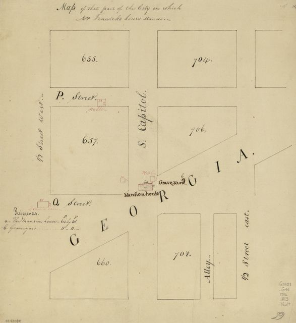 Map of that part of the city on which Mrs. Fenwick's house stands : [Washington D.C.].