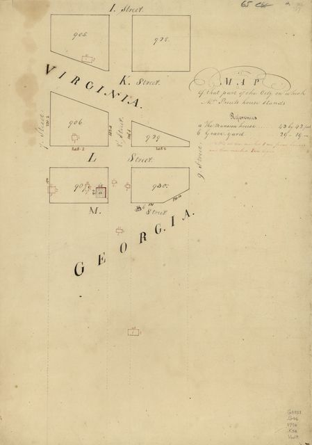 Map of that part of the city on which Mrs. Prouts house stands : [Washington D.C.].
