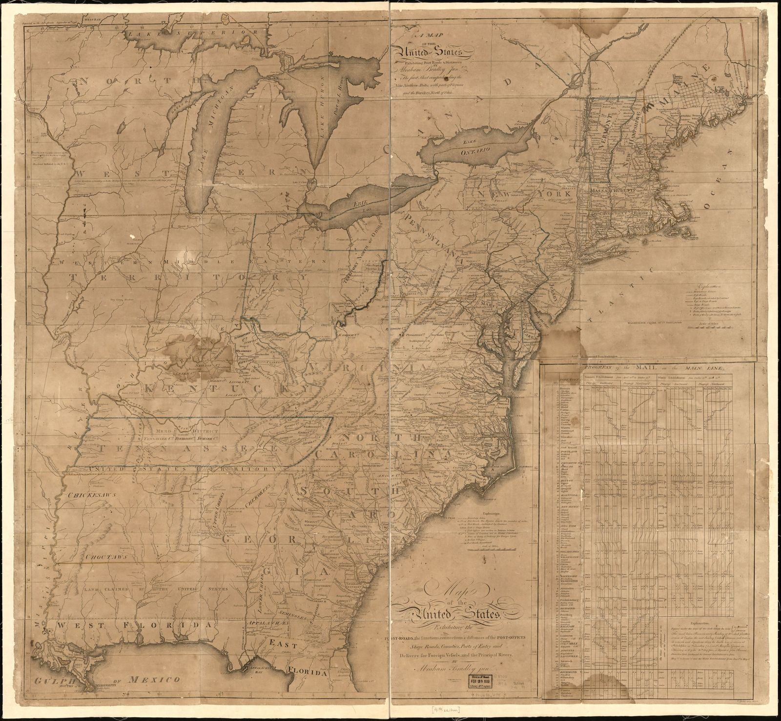 Map of the United States, exhibiting the post-roads, the situations, connections & distances of the post-offices, stage roads, counties, ports of entry and delivery for foreign vessels, and the principal rivers /