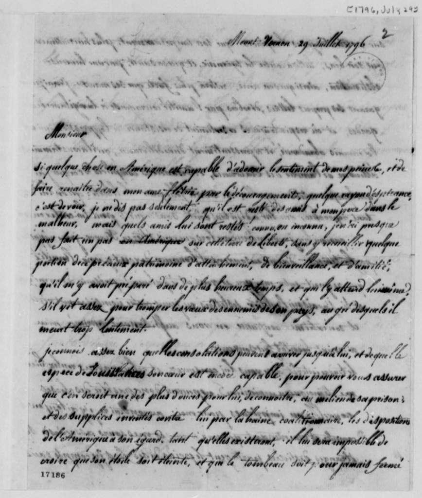 Marie Joseph Paul Yves Roch Gilbert du Motier, Marquis de Lafayette to Thomas Jefferson, July 29, 1796, in French