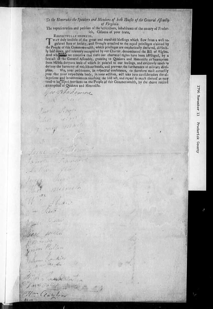 November 11, 1796, Frederick, Opposed to exempting Quakers and Menonists from militia duty. [10 identical petitions]