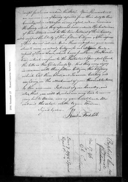 November 17, 1796, Miscellaneous, Baptist General Committee, urging sale of glebes.