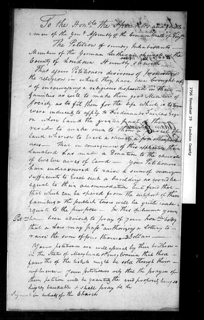 November 19, 1796, Loudoun, German Lutheran Church, for lottery to build house of worship.