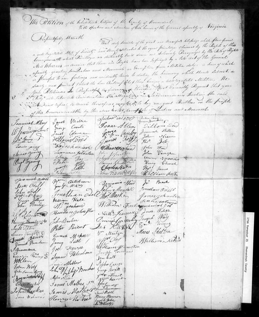 November 21, 1796, Shenandoah, For repeal of act exempting Quakers and Menonists from militia duty.