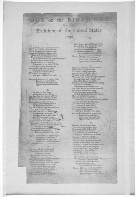 Ode on the birthday of the President of the United States 1796 [Two columns of verse, with chorus] [Philadelphia, 1796].