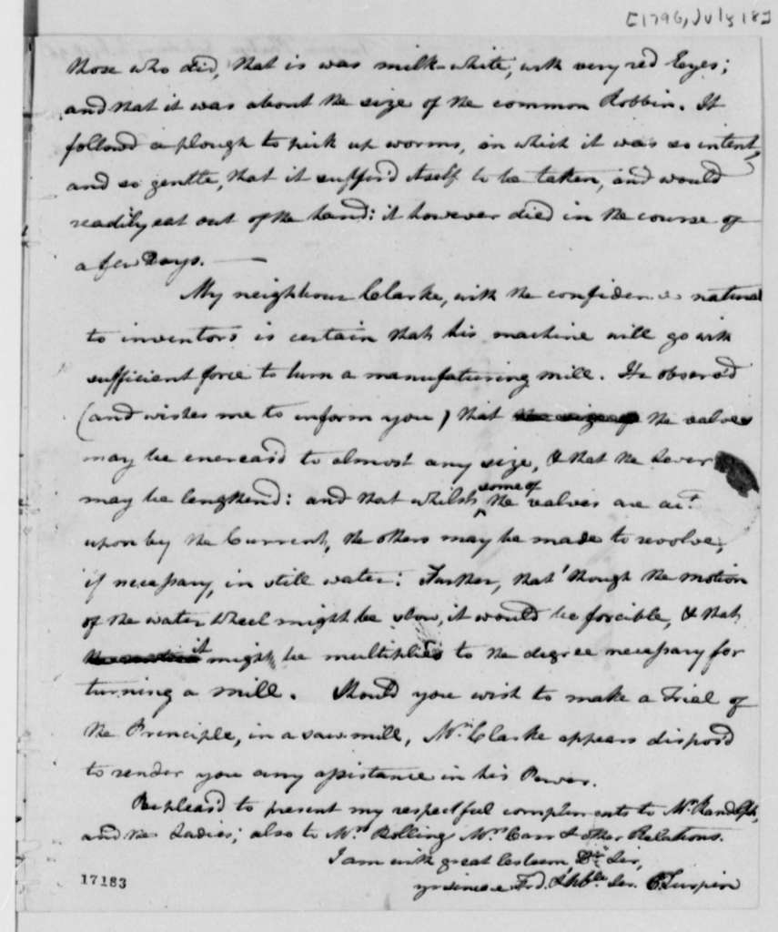 Philip Turpin to Thomas Jefferson, July 18, 1796