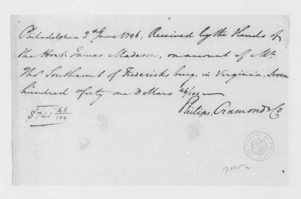 Philips, Cramond & Co. to James Madison, June 2, 1796. Receipt.