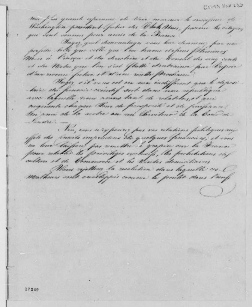 Pierre Samuel Dupont de Nemours, November 23, 1796, Extract in French on Tobacco