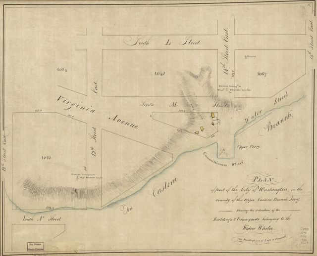 Plan of part of the city of Washington, in the vicinity of the upper Eastern Branch ferry, shewing the situation of the buildings & grave-yards belonging to the Widow Wheler.