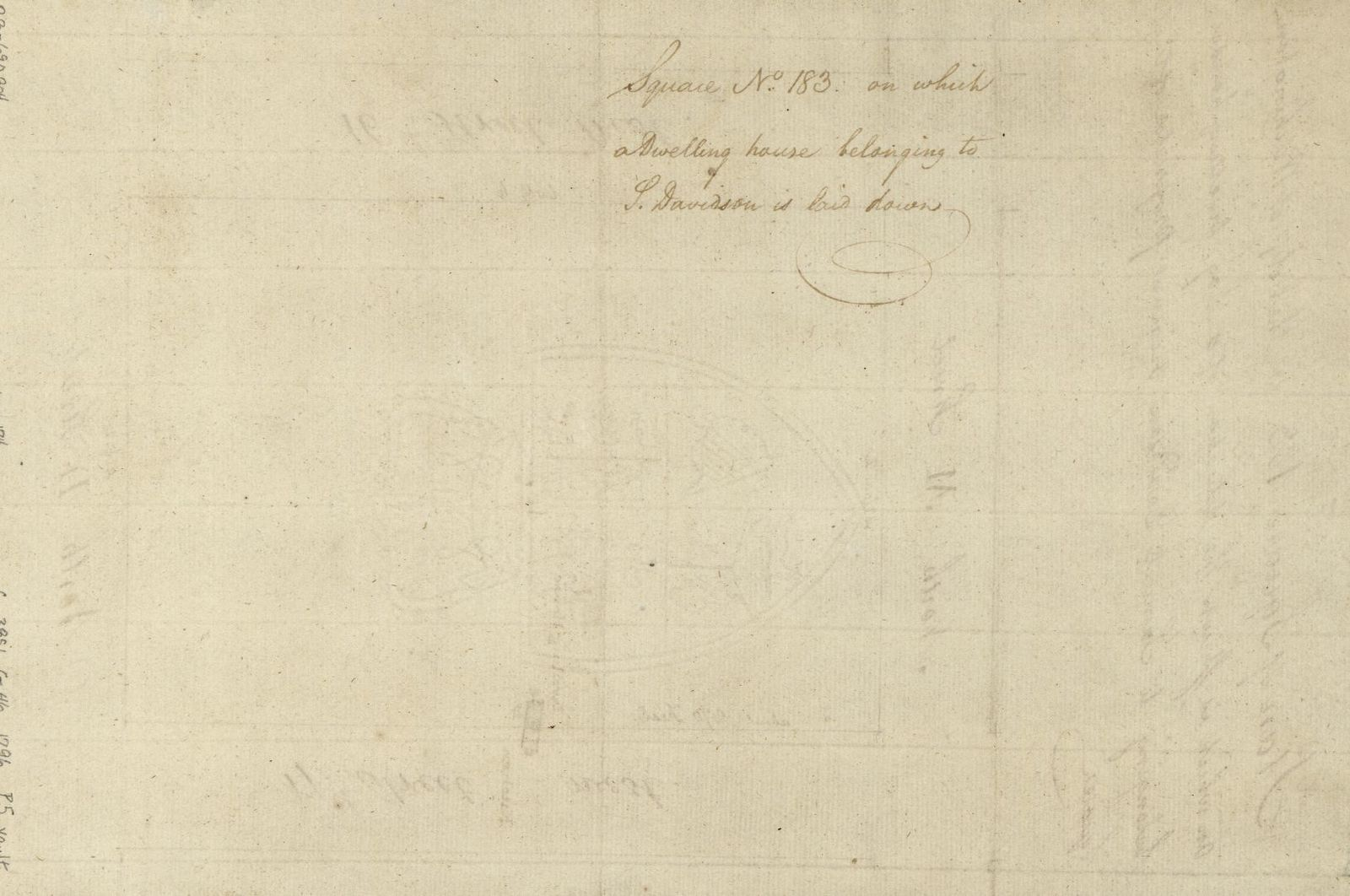 Plan of square 183 in the city of Washington on which is shewn the situation of a log dwelling house belonging to Samuel Davidson, original proprietor of the square.