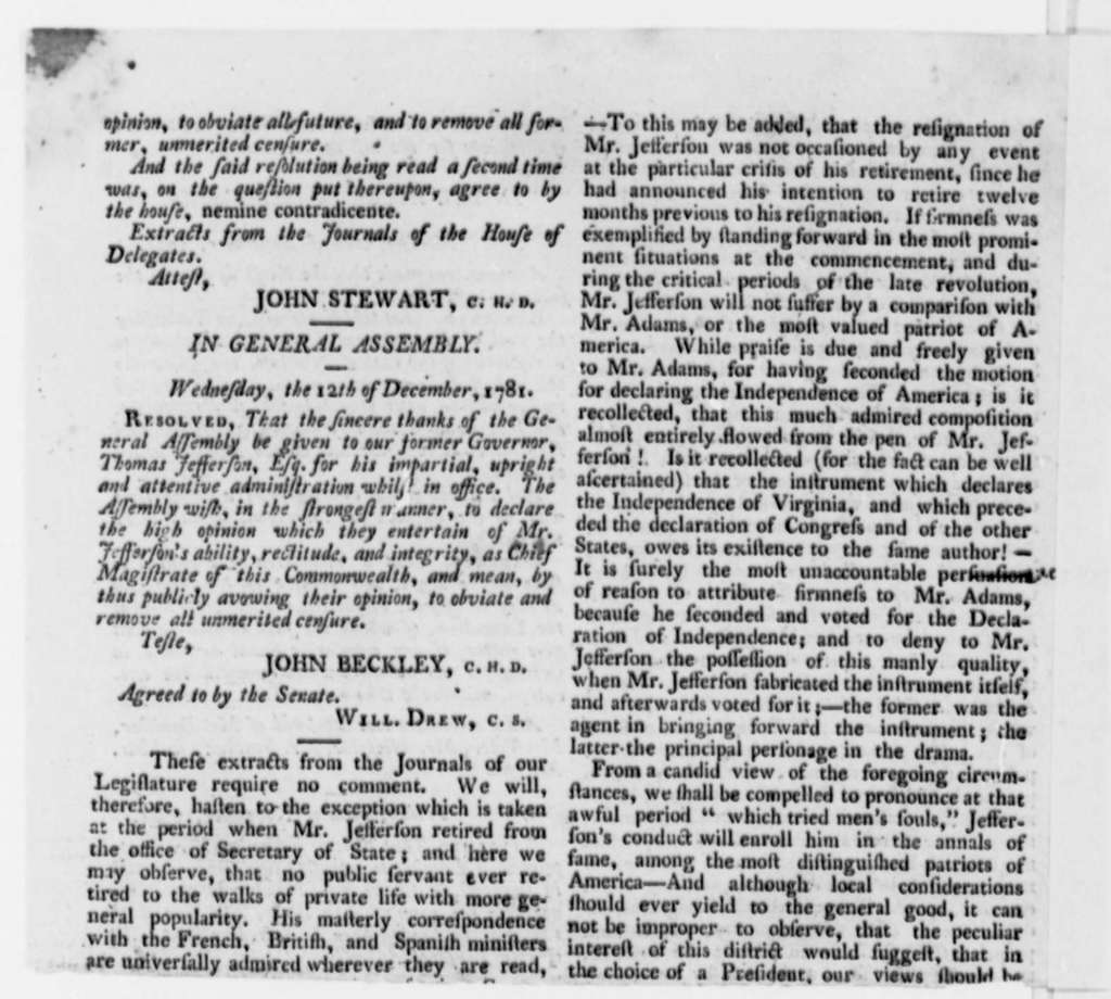 Prince William, Stafford, and Fairfax Counties Virginia Freeholders, October 1796, Printed Resolution