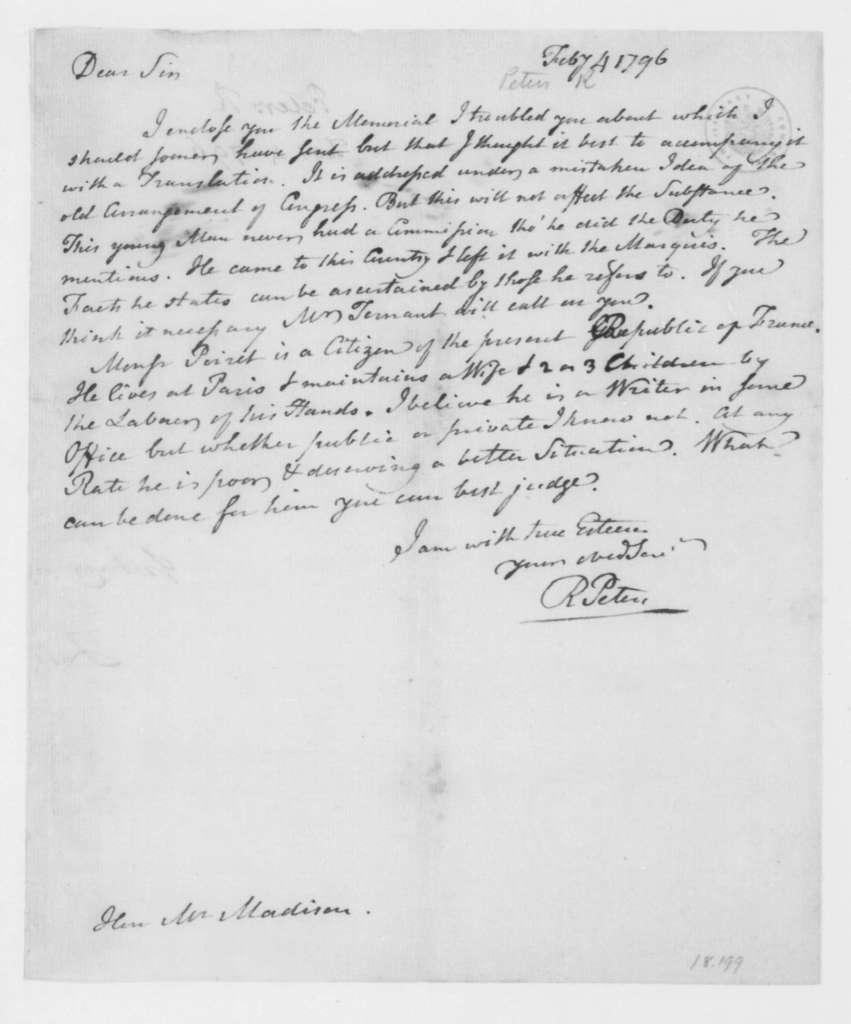 Richard Peters to James Madison, February 4, 1796.