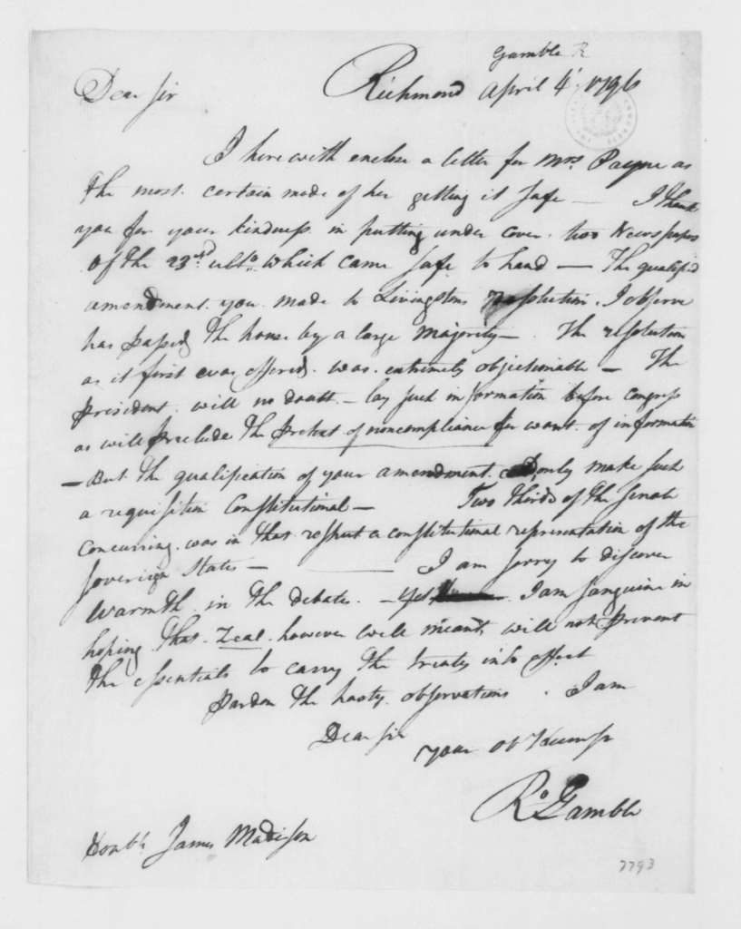 Robert Gamble to James Madison, April 4, 1796.