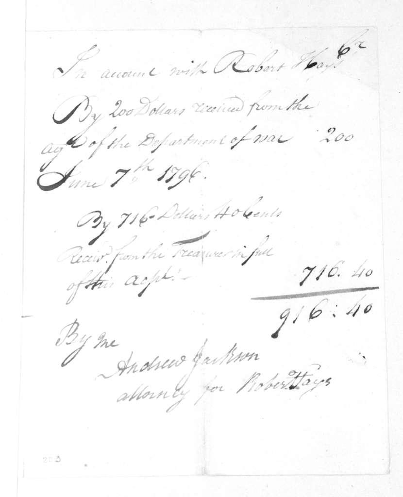 Robert Hays to Andrew Jackson, June 7, 1796