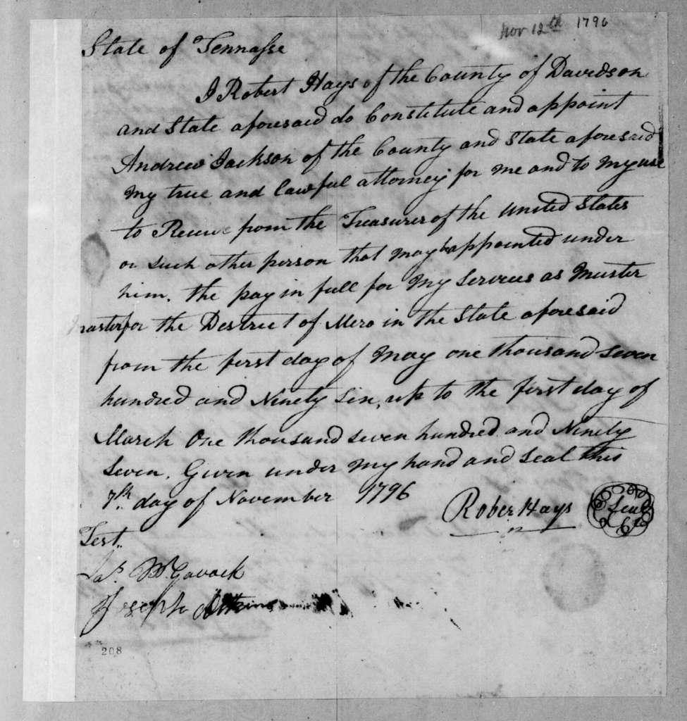 Robert Hays to Andrew Jackson, November 12, 1796