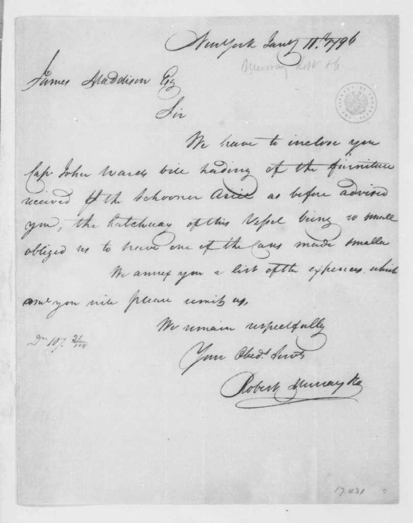 Robert Murray & Co. to James Madison, January 11, 1796.